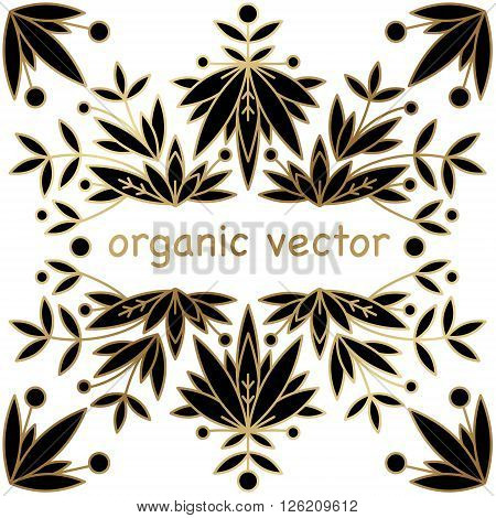 Design template unique luxury packaging. Natural motives of leaves branches modern style mono line. Designed for packaging organic natural products. Vector illustration of packaging material.