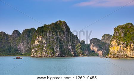 Magnificent landscape of rocky islands in Halong Bay.