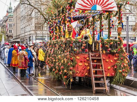 Zurich, Switzerland - 18 April, 2016: participants of the Sechselauten parade on Bahnhofstrasse street. Sechselauten is a traditional spring holiday in the city of Zurich, usually celebrated on the 3rd Monday of April.
