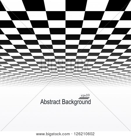 Abstract background with perspective. Tile floor - infinity design.