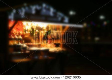 People at food Christmas fair kiosk