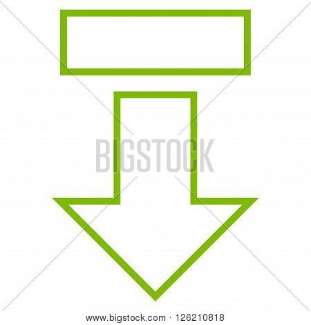 Pull Arrow Down vector icon. Style is stroke icon symbol, eco green color, white background.