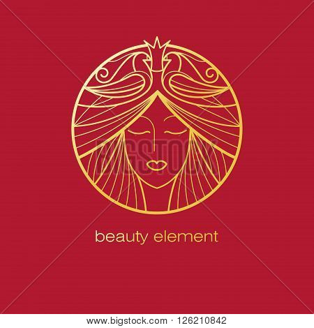 Vector abstract icon. Image of head beautiful girl in circle. Template logo pattern in trend of modern linear style. Beauty symbol. Design with organic motifs of birds for natural hair cosmetics.