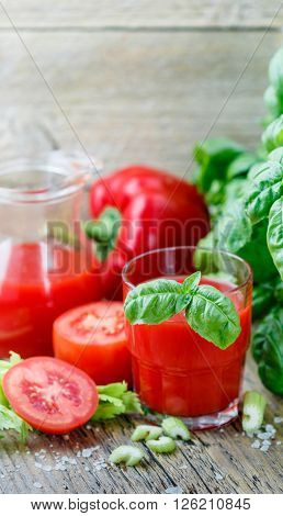 Tomato Juice. Vegetable Juice Made Of Tomatoes, Bell Peppers, Celery, Basil And Spices