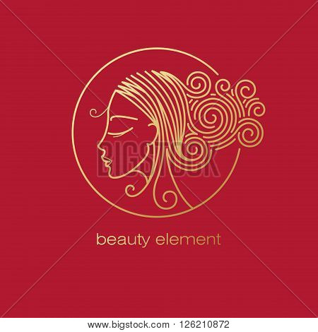 Vector abstract icon/Image of head beautiful girl in circle/Template logo pattern in trend of modern linear style/Beauty symbol/Design for beauty hair salons cosmetics/Gold foil on red background