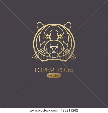 Vector illustration of a tiger. Designed to create a logo icon in modern style mono line. Predatory animal tiger isolated on a black background. Print gold foil. The tiger as a symbol of strength.