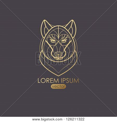 Vector illustration of a wolf. Designed to create a logo icon in modern style mono line. Predatory animal wolf isolated on a black background. Print gold foil. The wolf as a symbol of strength.