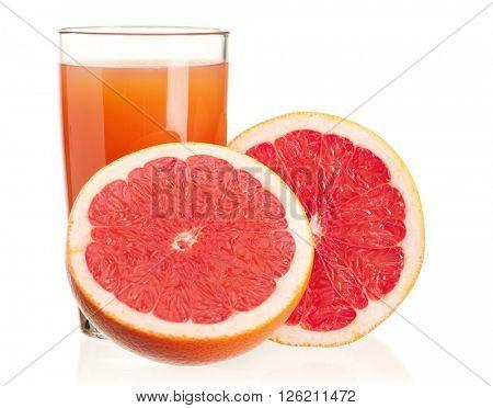 Glass of fresh grapefruit juice and grapefruit fruits isolated on white background