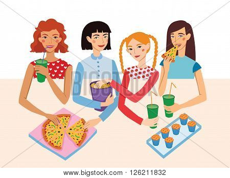Dinner Party Movie Night With Four Cute Girls Friends Vector Illustration. Ginger, Brunette, Blond And Brown Haired Girlfriends Different Hairstyles Chatting, Snacking together. Artwork is perfect for fun event gathering, magazine article, packaging.