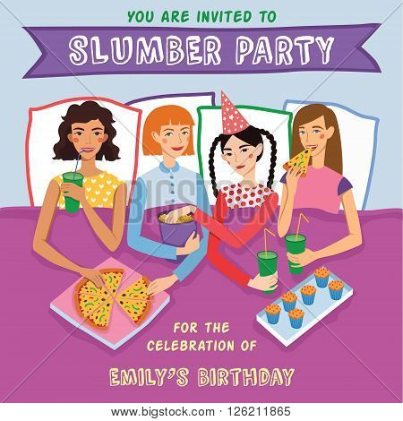 Slumber Party Birthday Invitation With Four Cute Girls Friends Vector Illustration. Ginger, Brunette, Blond And Brown Haired Girlfriends Different Hairstyles Chatting, Snacking During Sleepover. Illustration is perfect for fun event gathering, magazine ar