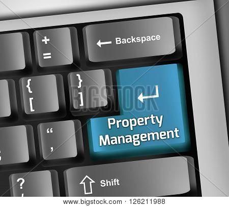 Image Keyboard Illustration with Property Management wording