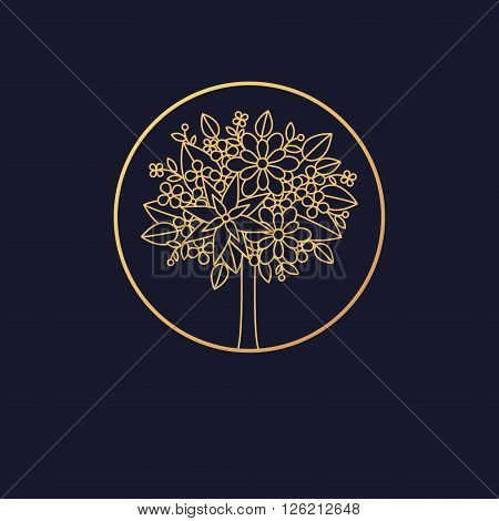 Vector abstract icon. The modern concept of gold foil printing on black background. Icon golden tree in a circle. Vintage. Design organic natural motifs. Crohn's tree of flowers and leaves.