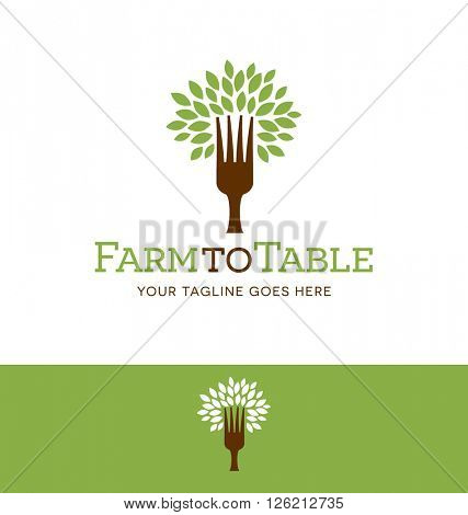 fork tree logo design for restaurant, farm, blog or website