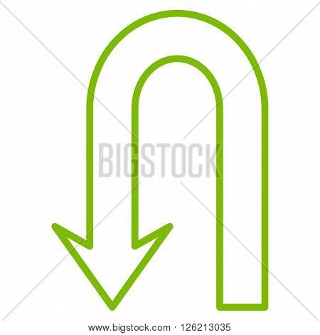 Return Arrow vector icon. Style is thin line icon symbol, eco green color, white background.