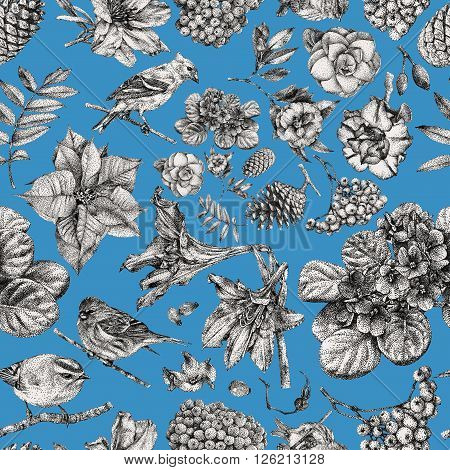 Seamless pattern with different flowers birds and plants drawn by hand with black ink. Graphic drawing pointillism technique