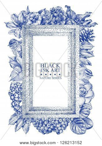 Rectangular frame with different flowers birds and plants drawn by hand with black ink. Graphic drawing pointillism technique. Place for text