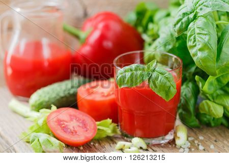 Tomato Juice. Vegetable Juices From Tomatoes, Cucumbers, Peppers, Celery, Basil And Spices