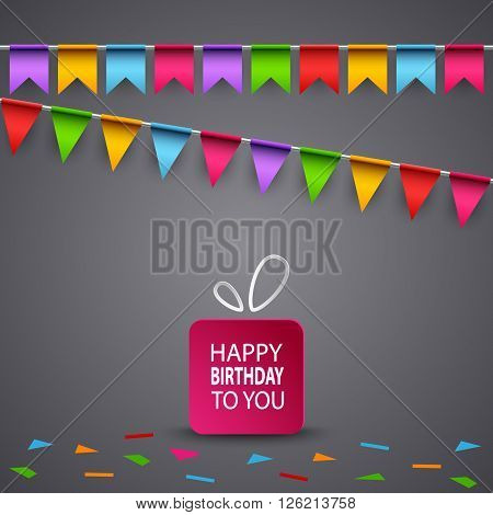 Birthday card with colorful flags and gift vector eps 10