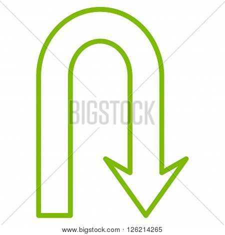 Turn Back vector icon. Style is stroke icon symbol, eco green color, white background.