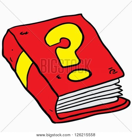 book with question mark cartoon illustration isolated on white