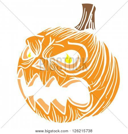 pumpkin head cartoon illustration isolated on white