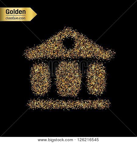 Gold glitter vector icon of exchange building isolated on background. Art creative concept illustration for web, glow light confetti, bright sequins, sparkle tinsel, abstract bling, shimmer dust, foil