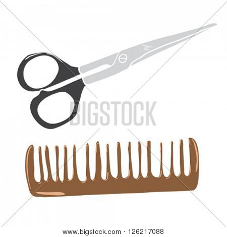 scissors and comb cartoon illustration