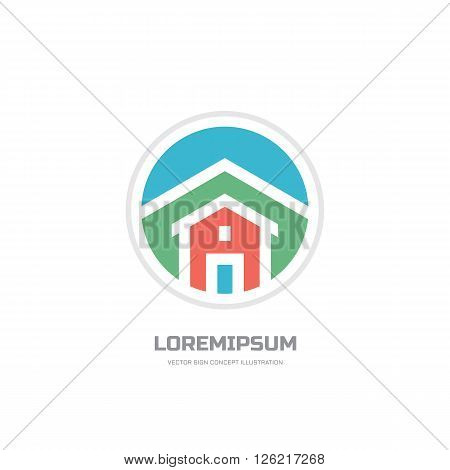Home building - vector logo concept illustration for presentation, booklet, website and other creative design projects. Real estate logo. Vector logo template. Design element.