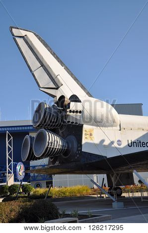 FLORIDA, USA - DEC 20: Space Shuttle Explorer, a life-size replica of the Space Shuttle at Kennedy Space Center on Dec. 20, 2010 in Cape Canaveral, Florida, USA.