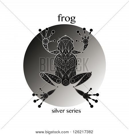Frog. Vector frog icon in a circle. Concept image of decorative animal. The modern trend - linear design. Illustration - frog logo sign symbol object of nature. Series - black white and silver.