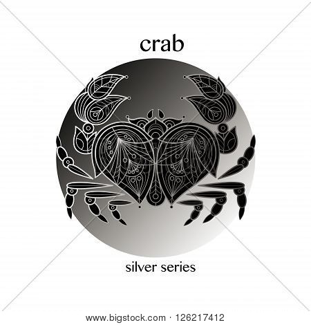 Crab. Vector crab icon in a circle. Concept image of decorative animal. The modern trend - linear design. Illustration - crab logo sign symbol object of nature. Series - black white and silver.