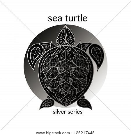 Turtle. Vector turtle icon in a circle. Concept image of decorative animal. The modern trend - linear design. Illustration turtle logo sign symbol object of nature. Series black white and silver.