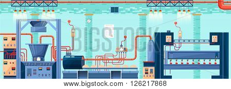 Stock vector illustration interior of plant, factory, bakery and baking for production of bakery products in flat style element for info graphic, web, icon