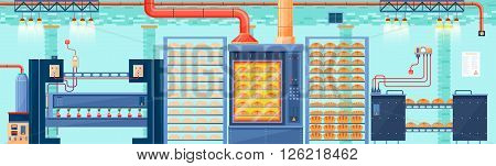Stock vector illustration interior of plant, factory, bakery and baking for production of bakery products in flat style element for info graphic, web
