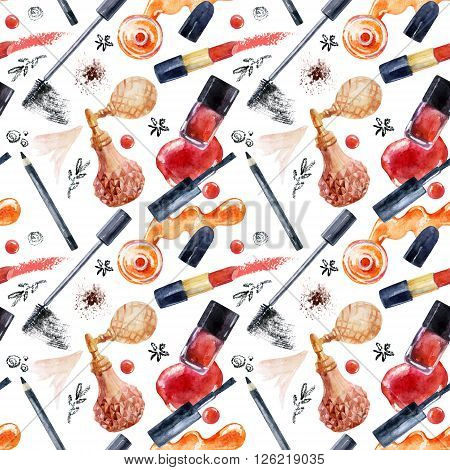Watercolor beauty seamless pattern. Essential makeup must-haves painting. Beauty product background. Cosmetics set on white background. Hand painted illustration for fashionable design.