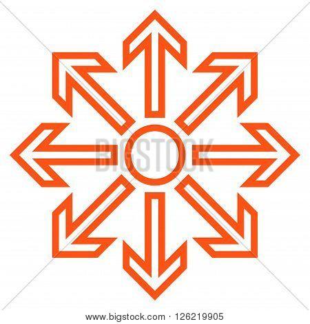 Maximize Arrows vector icon. Style is stroke icon symbol, orange color, white background.
