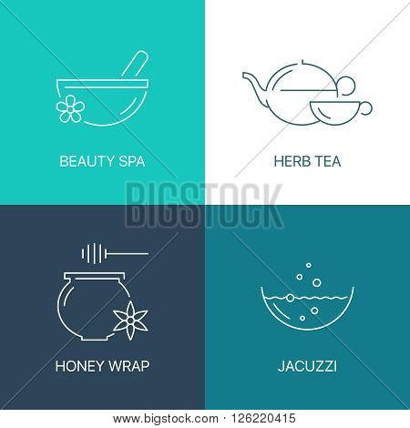 Spa thin line logo concept. Exceptional natural calligraphic elegant linear icons set. 