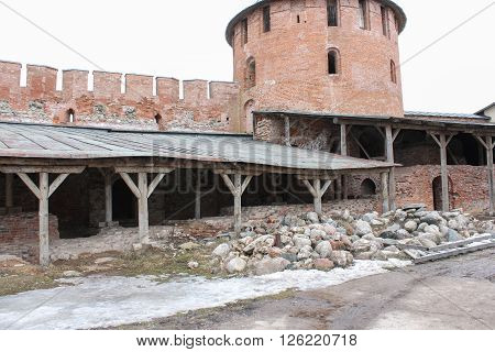 Veliky Novgorod, Russia - March 12, The inner part of the Kremlin, March 12,  2016. Types of towers and walls of Kremlin in Veliky Novgorod.