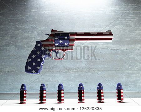 USA Gun  and Bullets 3D Render