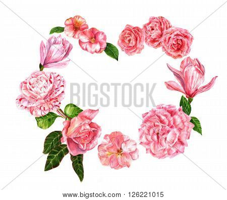 A heart made up by pink watercolor flowers (roses camellias and magnolias) hand painted on white background in the vintage botanical art style