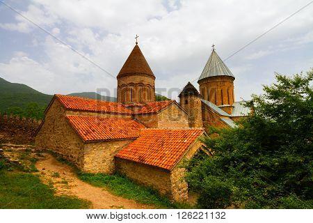 Georgia ancient medieval building of Ananuri citadel.
