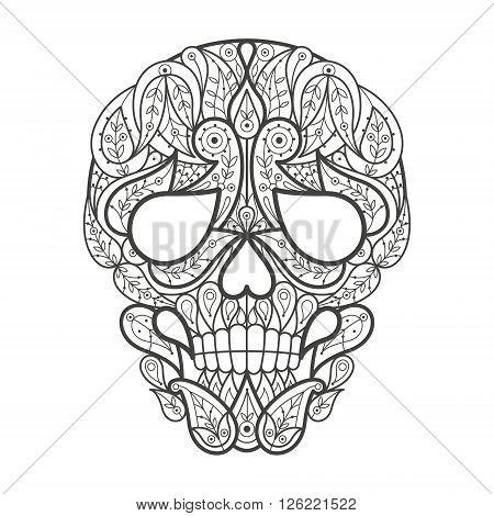 Vector illustration decorative skull on white background. Fashion trend of adult coloration. Human skull vector with elements oriental motif Turkish cucumber. Black and white. Modern vector design.