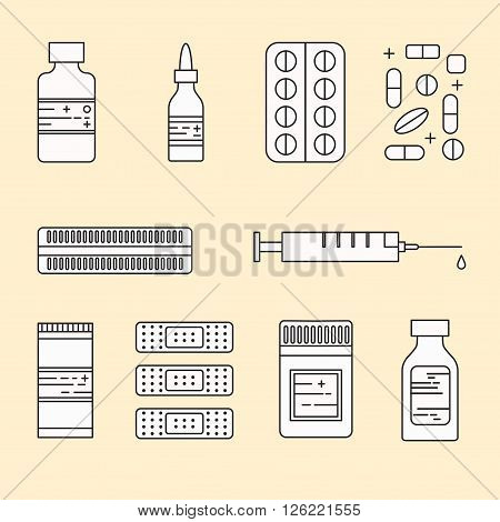 Medicine pharmacy lineart black and white vector collection.