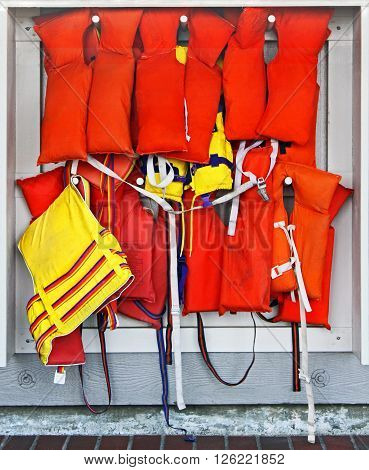 Life vests racked and available for public use.