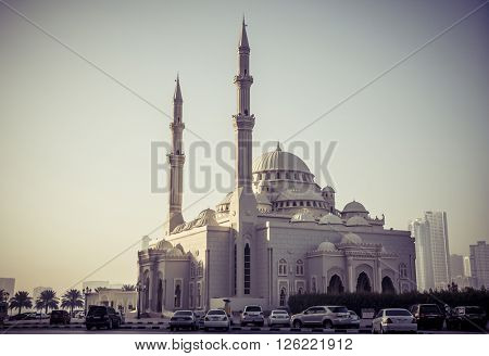 A holy mosque from a Sharjah, UAE.