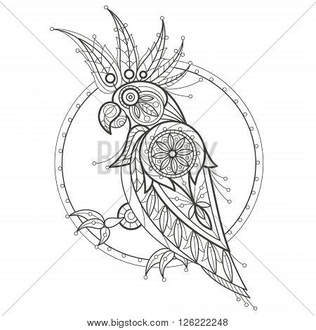 Vector illustration decorative cockatoo on white background. Fashion trend of adult coloration. Bird parrot vector with elements oriental motif Turkish cucumber. Black and white. Modern vector design.