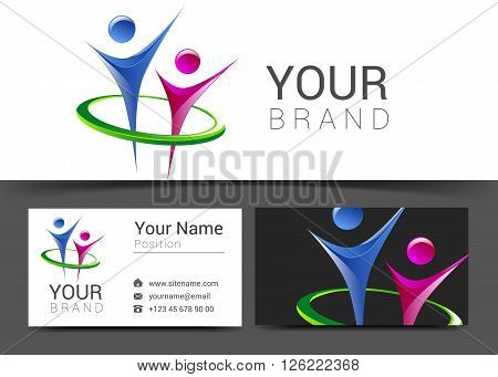 business card for your business with the logo of people on social networks and modern technology.