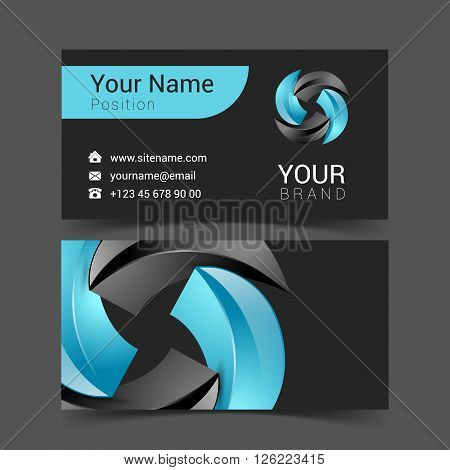 turquoise business card with sticker. office concept.