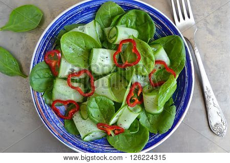 Vitamin salad with spinach cucumber and pepper with olive oil on metal background top view