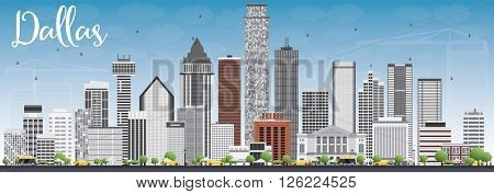 Dallas Skyline with Gray Buildings and Blue Sky. Business Travel and Tourism Concept with Modern Buildings. Image for Presentation Banner Placard and Web Site.